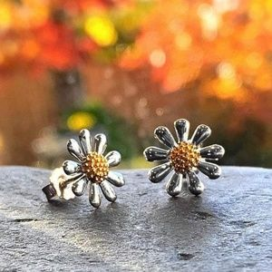 Silver Daisy Earrings with 18ct Gold Plate…